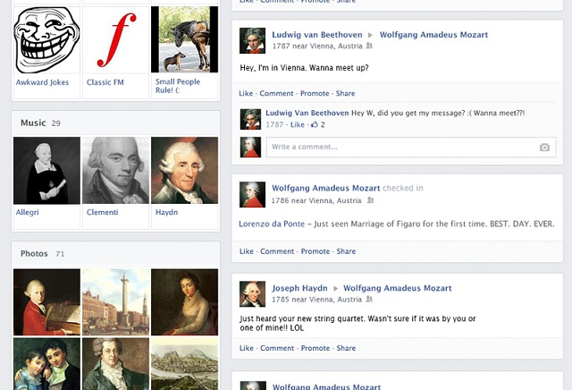 Mozart on Facebook